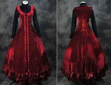 V-22 S/M/L/XL rouge noir victorien cosplay robe guerre civile