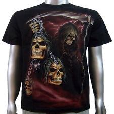 Death Grim Reaper Skulls Ball & Chain Glow In Dark Tee Tattoo Mens T-shirt M & L