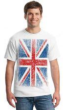 British Flag UNION JACK distressed T-SHIRT patriotic ENGLAND UK flag men's tee