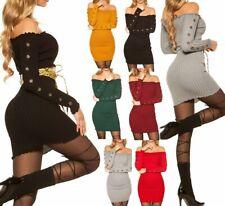 SeXy Miss Damen Carmen Mini Kleid Pullover Long Pulli Feinstrick 32/34/36/38 Top