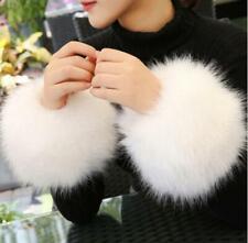 Women Winter Warm Sleeve Wristband Cuff Windproof Imitation Fox Fur Gloves