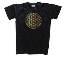 Flower of life - Blume des Lebens Golddruck Orgonit Chemtrails T-Shirt S - 3XL