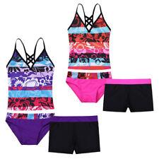 Kinder Mädchen Tankini Bikini Set Floral Print Badeanzug Tops + Briefs + Shorts