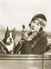 BOSTON TERRIER & FLAPPER VINTAGE CANVAS DOG ART PRINT