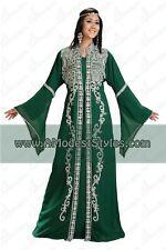 DUBAI ABAYA FANCY KAFTAN Hijab Muslim Islamic Wedding Dress *USA SELLER* MD0528