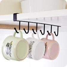 Kitchen Cup Holder Mug Hang Cabinet Shelf Organizer 6Hook scarf Storage Rack QG4