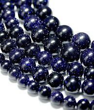 Blu perle fiume 2 - 16 MM COLORE BLU SCURO SFERE con GLITTER pietre preziose, 1 filamento