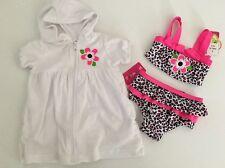 Penny M Girls Beach Swimsuit Bikini Hooded Coverup Size 12 18 24 Months Cheetah