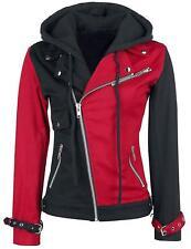 Women's Psychotic Harley Quinn Red & Black Biker Cotton Hoodie Jacket