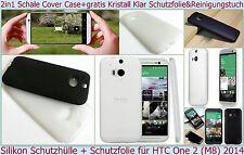 Slim Case Cover Schale Etui HTC One (M8) Handy TPU Bumper Schutz Hülle Folie Set