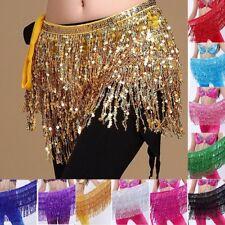 Danza del vientre Bufanda Lentejuelas Disfraz De Flecos Cinturón de Cadera Falda Bufanda Falda de baile desgaste