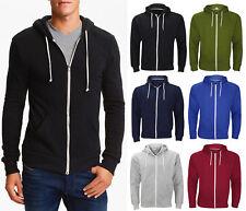 Mens Boys American Hoodie Sweatshirt Plain Hooded Fleece Zip Up Jacket Top S-5XL
