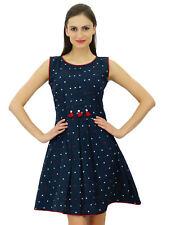 Bimba Womens Blue Pleated Cotton Dress Chic Casual Midi Sleeveless Summer Dresse