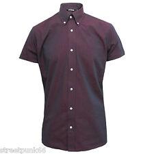 Relco Mens Burgundy Black Tonic Short Sleeved Shirt Mod Skin Retro Indie 60s 70s