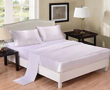 White Satin Sheet Set 4 Piece Bedding Wrinkle Free Cheap New Full / Queen / King