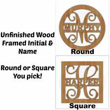 Unfinished Wood Framed Monogram & Name Door Hanger Laser Cutout w/ Your Initial