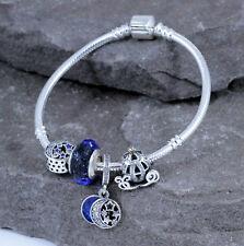 925 Sterling Silver CZ European Bracelet Bangle W/ Charms Beads Blue Pumpkin Car