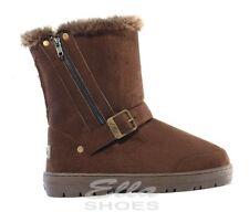 Ella Libby Marrone Donna Vegan Stivali Fibbia Zip Caviglia FAX pelliccia boot