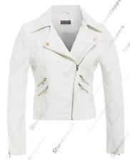 taglia 8 10 12 14 Nuova da donna giacca motociclista PU ecopelle bianco avorio