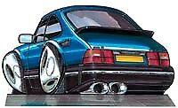 Saab 900 Blue turbo se cd spg 900S gli Cartoon car t-shirt sizes available S-3XL