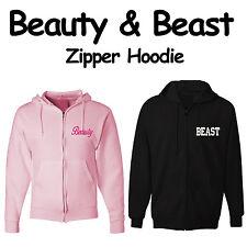 Valentine's Day Couples Gift set BEAUTY & BEAST Zipper Hoodie Sweatshirt Jackets