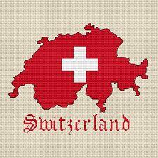 "Svizzera mappa & bandiera Cross Stitch Design (15x15cm, 6x6 "", kit o grafico, 14hpi)"