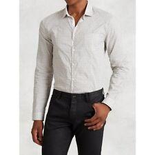 JOHN VARVATOS Mainline Rye Slim Fit Crinkle Cotton Beige White Shirt RRP:£180.00