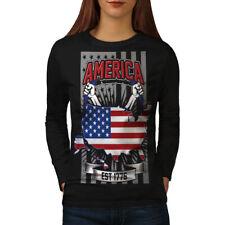 NATION américaine Femme Fashion T-shirt à manches longues Nouveau | wellcoda