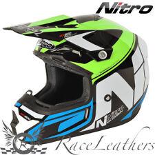 NITRO MX600 HOLESHOT VERDE BLU NERO MX DA STRADA LEGALE MOTOCROSS FUORISTRADA