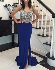 In stock 2-20 Brand New Royal Blue Beaded Jersey Split Train Long Prom Dress