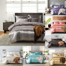 Luxury Satin Silk Soild Color Duvet Cover Quilt Cover Single Double King UK Size