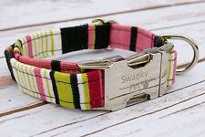 Designer Dog Puppy Collar - All Sizes - Pink, Lime & Black Stripe