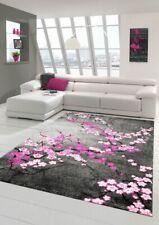 Designer Tapis contemporain tapis du salon motif floral Gris Violet Rose Blanc .