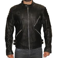 Men's Slim Fit Biker Motorcycle Suede Shoulder Genuine Leather Jacket