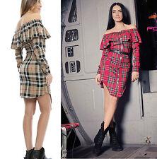 Foggi Damenkleid Minikleid Kariert Kleid Schulterfrei Tunika Bluse Rot S-L