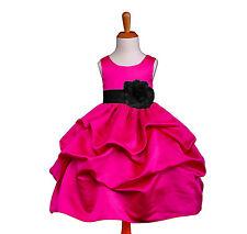 Fuchsia/Black Pick Up Wedding Flower Girl Dress 6M 12M 18M 24M 2 4 4X 6 8 10 12