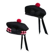 Tartanista Scottish Highland 100% Wool Balmoral Kilt Beret - Black & Diced