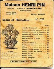 CATALOGUE GRAINES ET PLANTES - Maison Henri Pin - Cagnes-sur-Mer Alpes-Maritimes