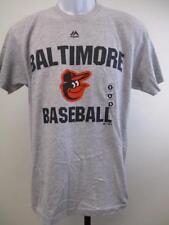 New Baltimore Orioles Baseball Mens Sizes S-M-XL-2XL Gray Majestic Shirt $26