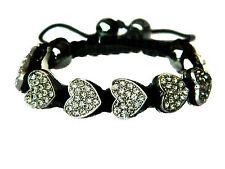 Shamballa Red, Black or Diamond White Rhinestones Full of Hearts Bracelet BB46