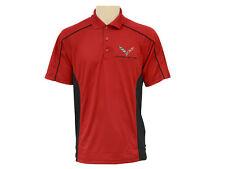 Corvette C7 Performance Polo Shirt Black & Red
