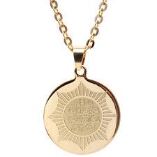 Round Gold Pt Al Qalam Quran Vanyakad Necklace Chain Islamic Gift Muslim Allah