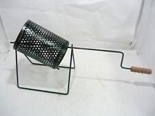 Padella pentola ferro rullo gira castagne caldarroste con manico per camino