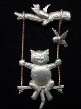"""JJ"" Jonette Jewelry Silver Pewter 'Swinging CAT and Bird Friends' Pin"