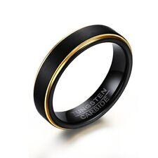Wolfram Tungsten Carbid Ring Schwarz Gold Partner Verlobung Hochzeit Ringe Edel