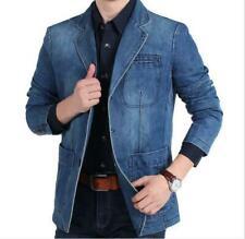 Korean Mens Lapel Collar Denim Blazer Slim Fit Jacket Outwear Leisure Jeans Coat