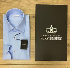Camicia Uomo Egon Von Furstenberg Nido d'ape Basic Cotone Azzurro scatola SALDI