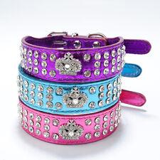 Bling Rhinestone Crystal Diamante Crown Charm Leather Dog Cat Puppy Pet Collar