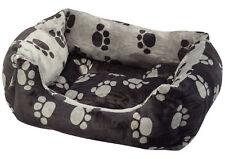 Petface Paw Print Reversible Square Dog Bed Super Soft Plush Pet Bedding Basket