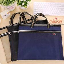 A4 Zippe Briefcase Document File Holder Organizer Office Canvas Storage Handbag#